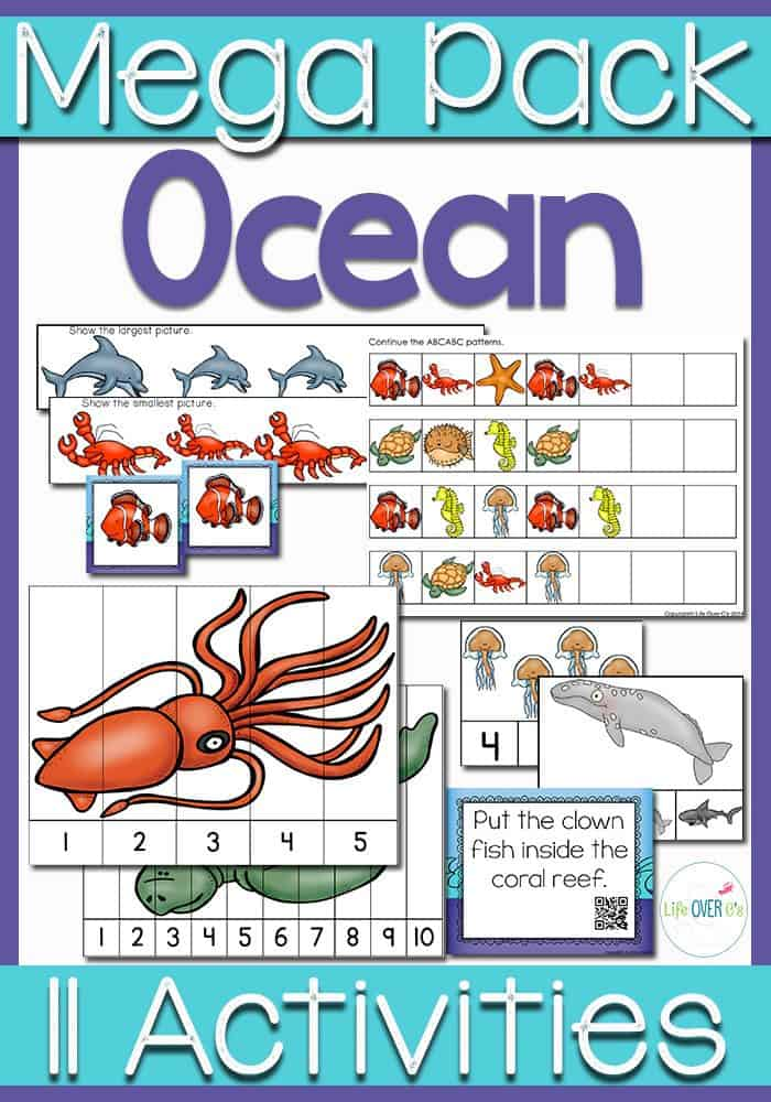 Kids will love learning about the ocean with this ocean preschool pack! Counting, matching, patterns, and much more! Great for an Ocean Theme.