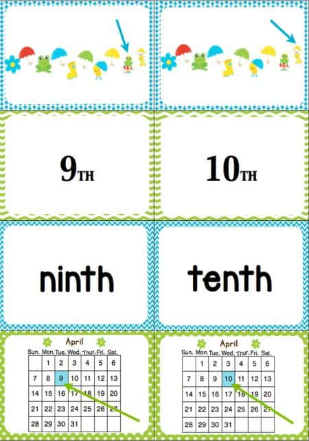 Students will learn ordinal numbers through a fast-paced, fun game! This April Ordinal Number game reviews ordinal numbers 1st-10th with an exciting April/Rainy Day theme. The kids can look at objects in a line, dates on a calendar, numerals and words to learn what each of them means.