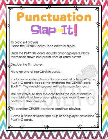 This punctuation card game is a great way to get kids excited about grammar! Fast paced, engaging and lots of opportunities for review!