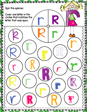 Alphabet Spin & Cover pages! Lots of fun fonts for kindergarteners to practice! Kids cover an uppercase or lowercase letter after spinning the spinner.