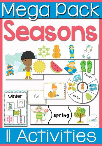 "This seasons math and literacy pack is great for preschoolers and kindergarteners! Seasonal play dough mats for ""What to wear"", sorting pictures of seasons, puzzles, matching and much more! Your kids will love learning about the four seasons with this pack!"