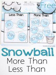 Free Snowball Math Game: Greater Than/Less Than