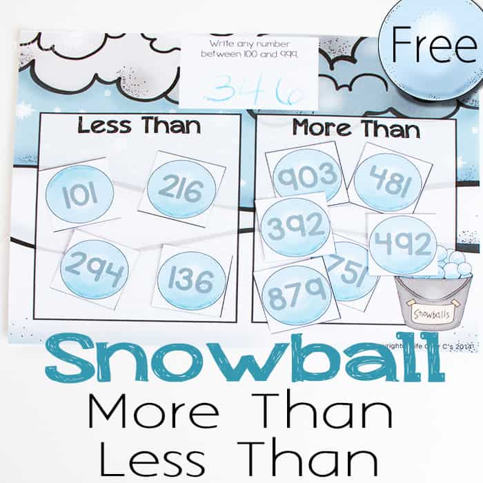 Free Snowball Math Game: Greater Than/Less Than