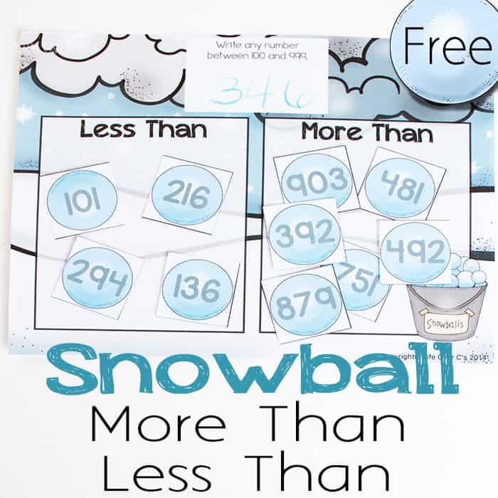 Snowball Greater Than Less Than Mat