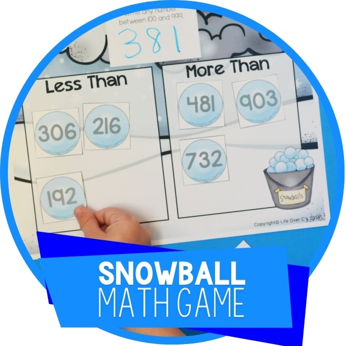Free Printable Snowball Math Game: Greater Than/Less Than