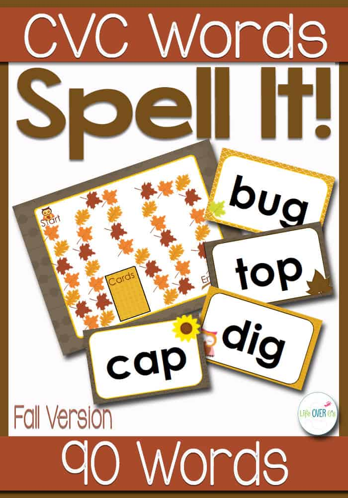 CVC Word Families Board Game Fall Themed
