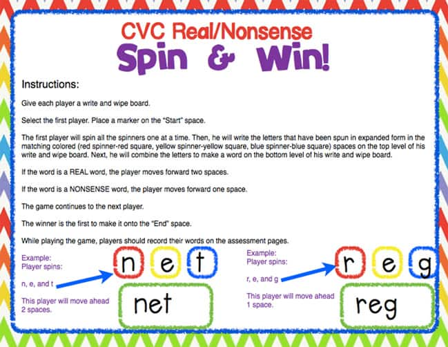 Give students practice creating real and nonsense words in this fun partner or small group game. Students will compose CVC words by spinning beginning, middle and end letters. They will learn what words are real and what words are nonsense through play.