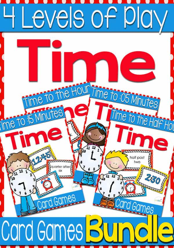 5 Time Card Games for Telling Time (Levels 1,2,3,4) Bundle