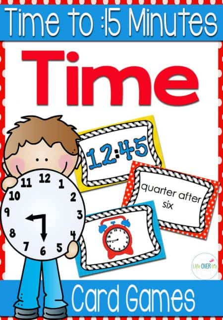 These time card games for telling time to fifteen minutes are a super fun way to learn about time with your students!