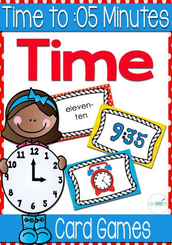 Telling time to five minutes is a blast with these super fun card games for math centers!