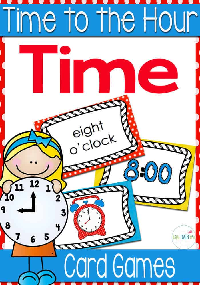 Time card games for telling time to the hour! Perfect for learning how to tell time! Lots of different games included!