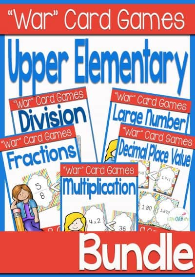 These war card games for upper elementary math are so much fun! Fractions, large numbers, decimals, multiplication, and division are a blast when you are playing these games!