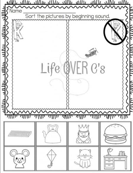 Review beginning sounds with these alphabet beginning sound sorts. Print in color for a center or black & white for individual student pages.