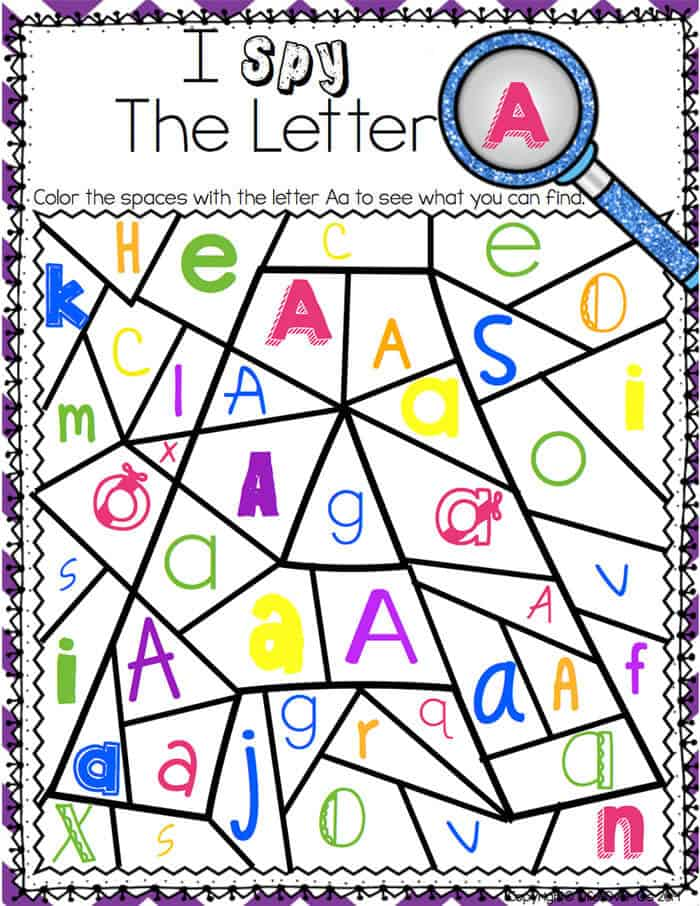 Free Worksheets letter a worksheets for preschool : Alphabet I Spy No-Prep Printables u0026 Centers - Life Over Cs