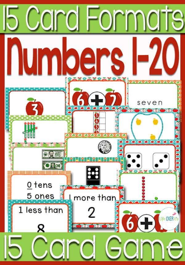 Numbers 0-20 15 Apple-Themed Card Games
