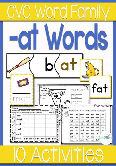 There are so many at word family activities included in this pack! Puzzles, memory, tracing cards, dice games and more! The perfect set for learning the at word family.
