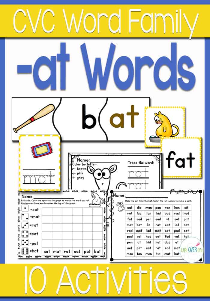 CVC Words Activity Pack: at Word Family