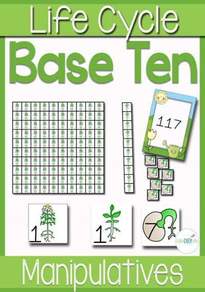 These themed base-ten manipulatives make learning place value so much fun! This set has a different part of the plant life cycle for each place value. So cool!