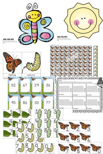 These themed base-ten manipulatives make learning place value so much fun! This set has a different part of the butterfly life cycle for each place value. So cool!