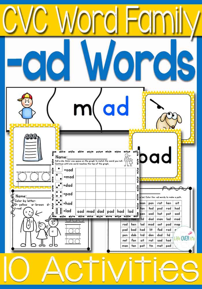 ad Word Family CVC Activities