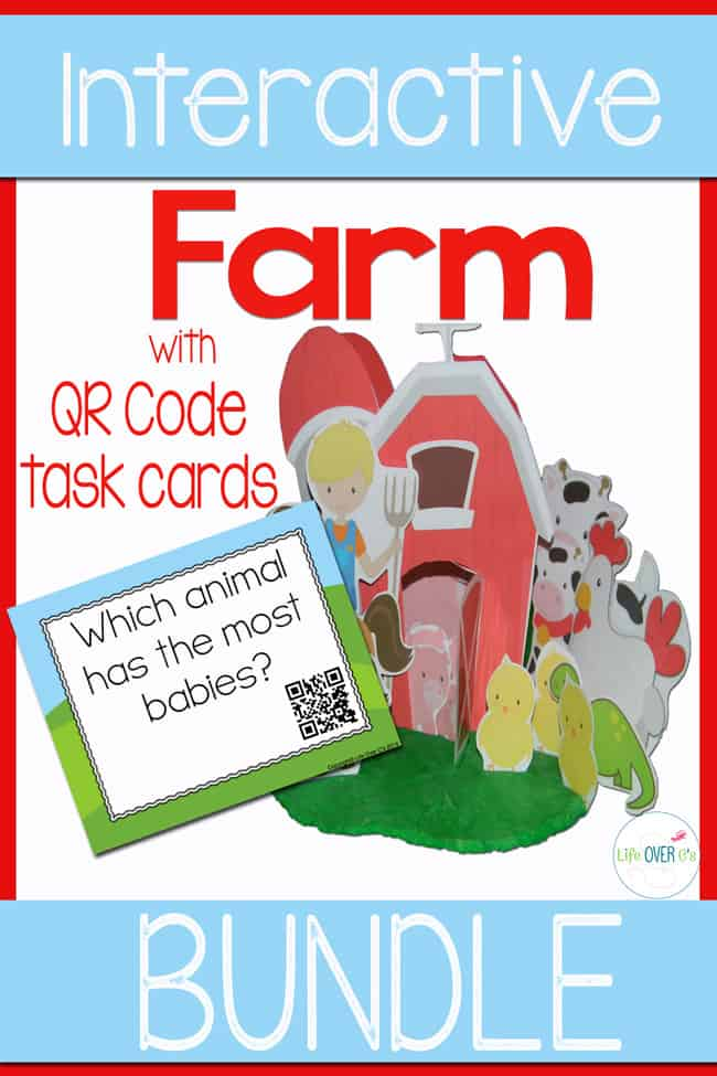 Interactive farm bundle with QR tasks cards for preschoolers