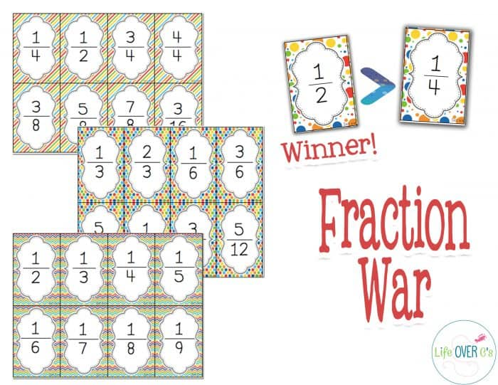 This fraction war card game set comes with 8 levels! From beginner to advanced your students will love learning about equivalent fractions!