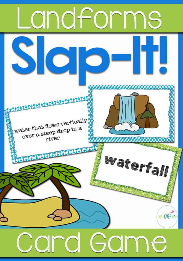 "Vocabulary review card game for 24 landforms. A ""Slap Jack""-style, fast-paced, unique approach to reviewing vocabulary for your landforms unit. Includes landform word cards, definition cards, and picture cards."
