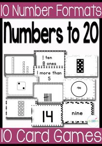 Have fun counting to 20 with these 10 fun card games for numbers 1-20. This black and white theme covers numbers using words, numerals, dice, tally marks, dominoes, sets, base ten and more!