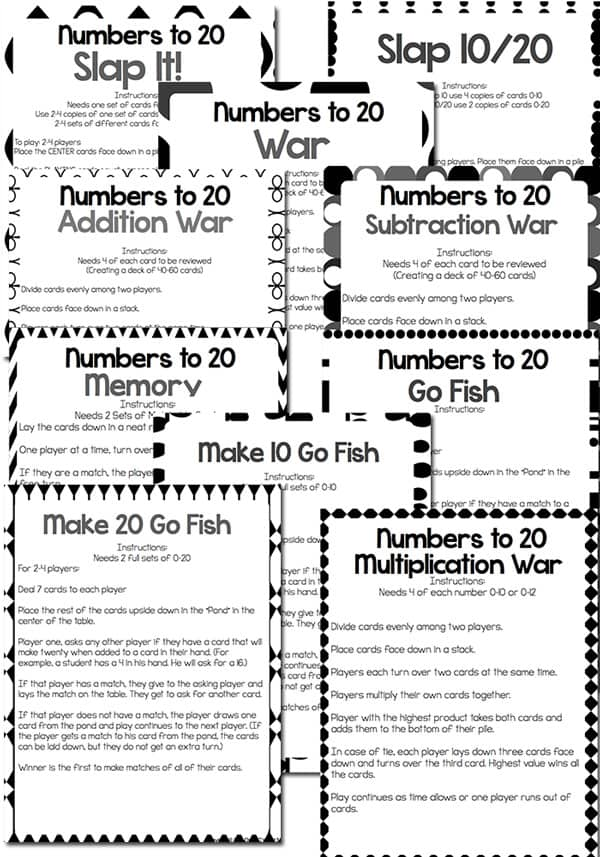 10 number card game instructions