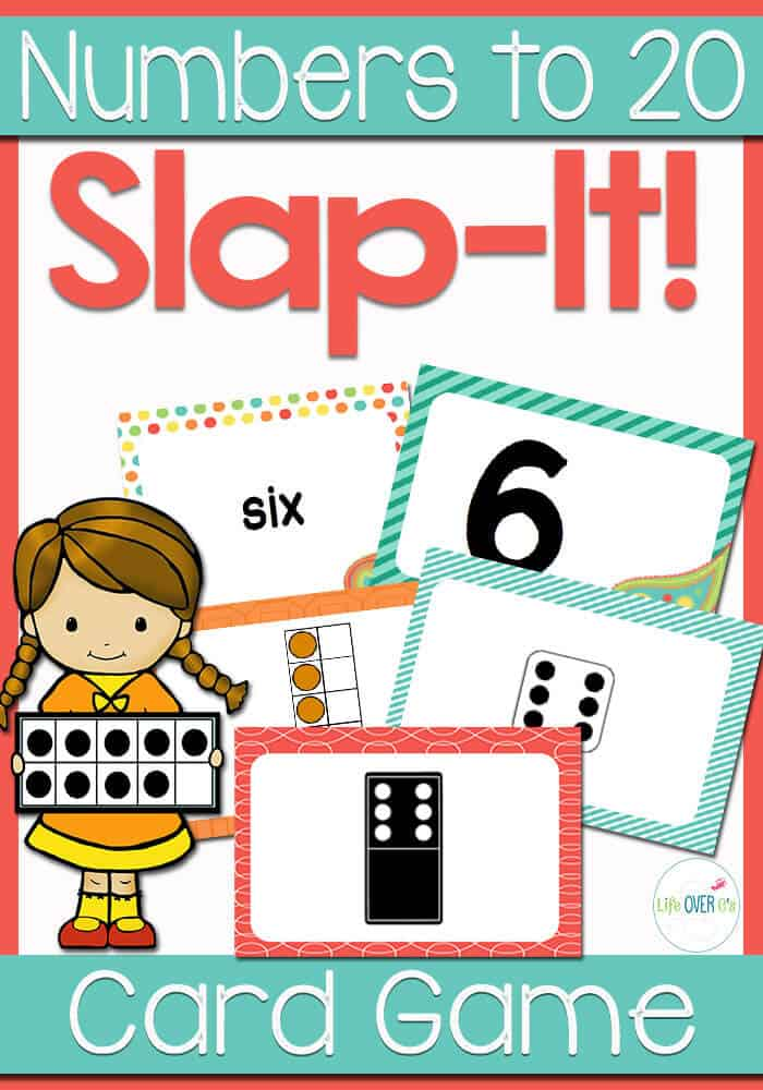 Slap It! Card Game for numbers 0 to 20. Identify the number in the center card pile and slap the playing cards when one matches the center pile. Cards have ten-frames, dominos, dice, numerals and number words.