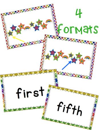 Students will learn ordinal numbers through a fast-paced, fun game! This ordinal numbers card game reviews 1st-10th with an exciting March/Rainbows theme.