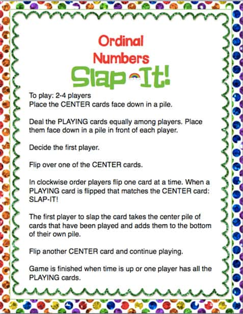ordinal numbers slap-it instructions