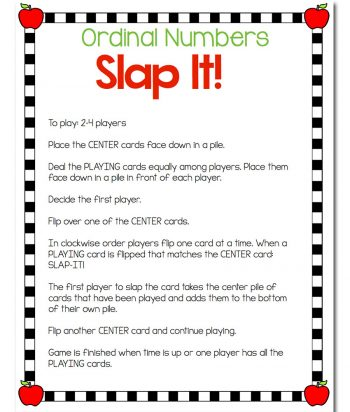 Students will learn ordinal numbers through a fast-paced, fun game! This September Ordinal Numbers Card game reviews ordinal numbers 1st-10th with an exciting September/Apple theme. The kids can look at objects in a line, dates on a calendar, numerals and words to learn what each of them means.