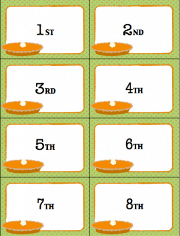 Students will learn ordinal numbers through a fast-paced, fun game! This game reviews ordinal number 1-10 in an November/Thanksgiving Theme.
