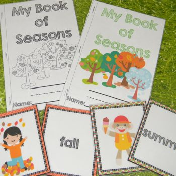 """This seasons math and literacy pack is great for preschoolers and kindergarteners! Seasonal play dough mats for """"What to wear"""", sorting pictures of seasons, puzzles, matching and much more! Your kids will love learning about the four seasons with this pack!"""