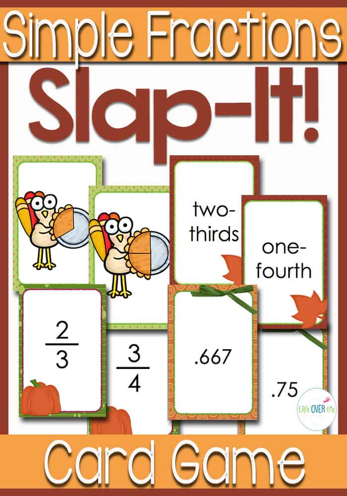 Simple Fractions Slap It! Card Game: Fall Themed
