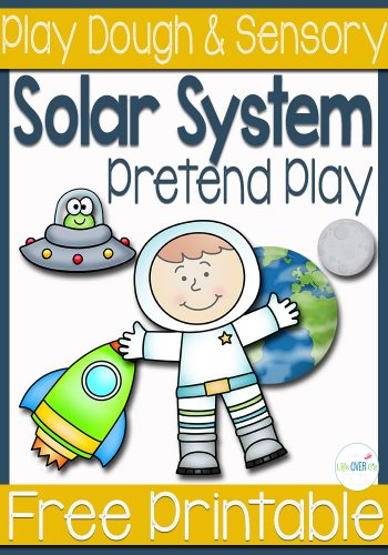 This solar system pretend play printable is perfect for using in a sensory bin, play dough or just for a fun afternoon! Kids will love exploring the solar system with this cute astronaut!