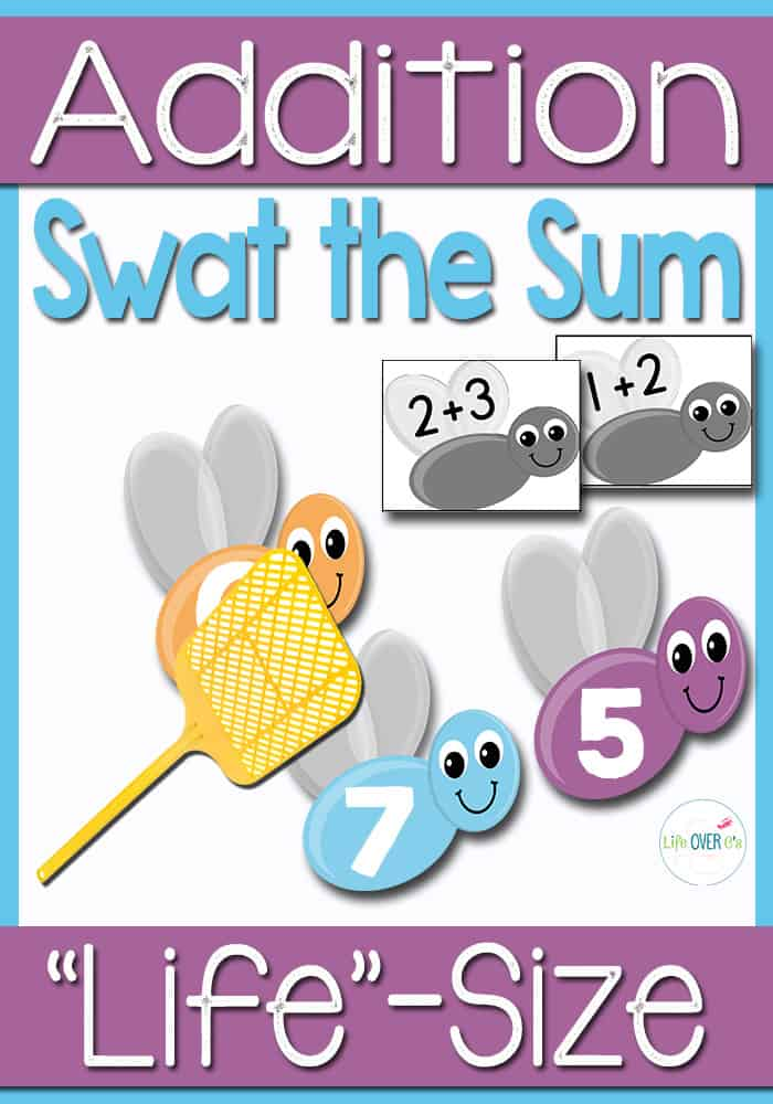 "Kids will have so much fun playing Swat the Sum at they use a fly swatter to hit the sums of their addition facts! There is even a ""Bug Off"" repellent ""jar""."
