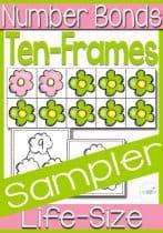 free printable number bonds life-size ten frame