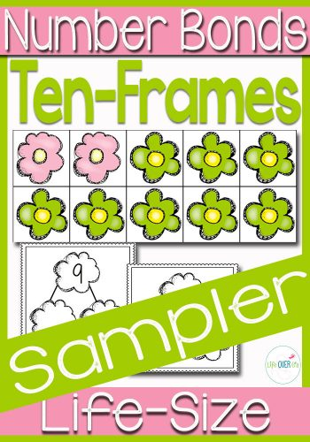Your students will love learning about ten-frames and number bonds with this fun life-size ten-frame sampler! Add the flowers to the ten-frame to represent the number bonds shown on the cards. A great way to build understanding!