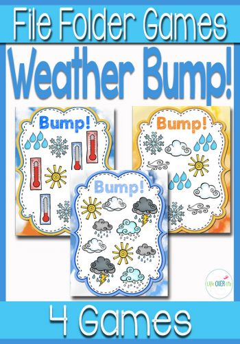 These Weather Bump Games are a fun way to learn weather words! Color and black/white options included for easy printing. Definitely need these for our weather unit!