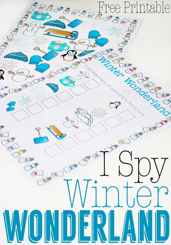 Winter I Spy free printable is perfect for practicing counting on cold winter days!
