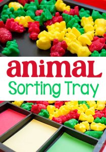 Colors are so much fun to sort when it involves rainbow animal counters! This animal counter sorting activity looks so easy to set up too!