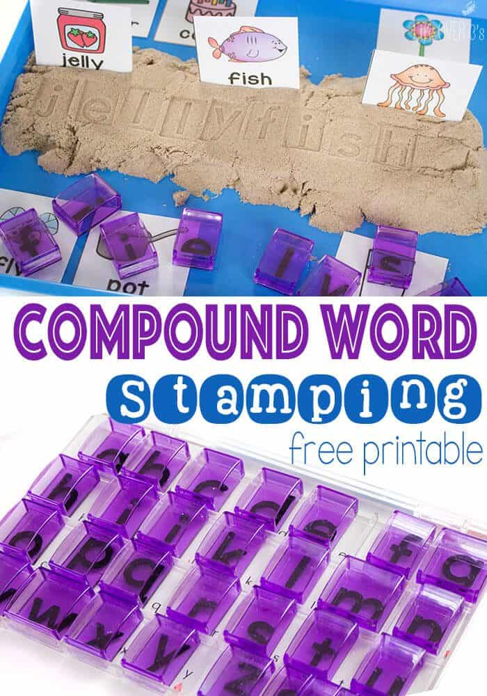 Stamping compound words with free printable compound word cards is great for building fine-motor skills while working on spelling. 16 different compound word sets to practice.