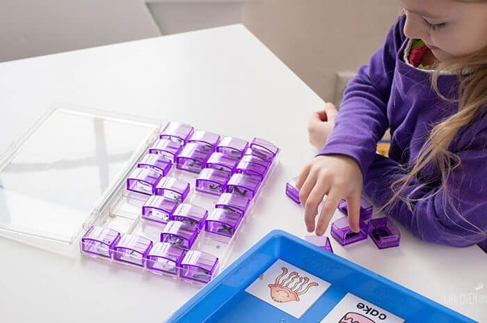Stamping compound words with free printable compound word cards is great for building fine-motor skills while working on spelling. 16 different word sets to practice.