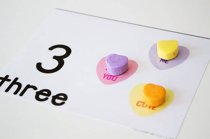 three hearts on conversation heart counting cards