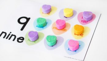 These conversation heart counting cards for 1-10 are a fun way to practice counting! The kids will love putting real conversation hearts on the pictures as they work on one-to-one correspondence.