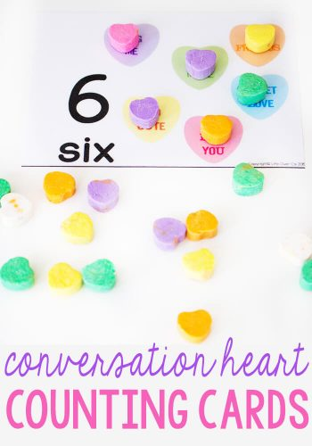 These free printable conversation heart counting cards for 1-10 are a fun way to practice counting! The kids will love putting real conversation hearts on the pictures as they work on one-to-one correspondence.