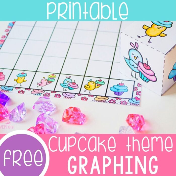 Free printable graphing activity for preschool with cupcakes and birds. Great Valentine's day math activity