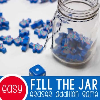 Fill the Jar Mini Erasers Addition Game Featured Square Image